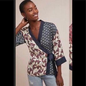 Anthro Meadow Rue kimono wrap blouse XS